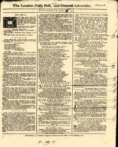 London Daily Post And General Advertiser, June 25, 1743, Page 1