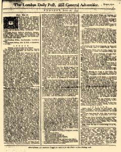 London Daily Post And General Advertiser, June 28, 1743, Page 1