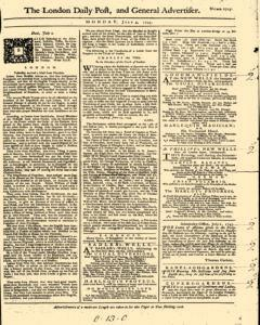 London Daily Post And General Advertiser, July 04, 1743, Page 1