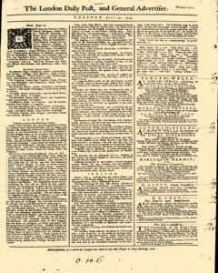 London Daily Post And General Advertiser, July 12, 1743, Page 1