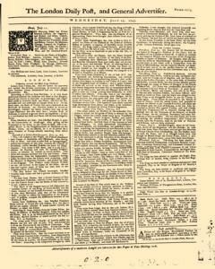London Daily Post And General Advertiser, July 13, 1743, Page 1