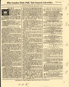 London Daily Post And General Advertiser, July 28, 1743, Page 1