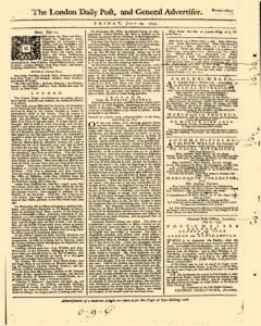 London Daily Post And General Advertiser, July 29, 1743, Page 1