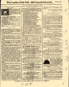 London Daily Post And General Advertiser, July 30, 1743, Page 1