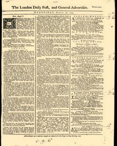 London Daily Post And General Advertiser, August 10, 1743, Page 1