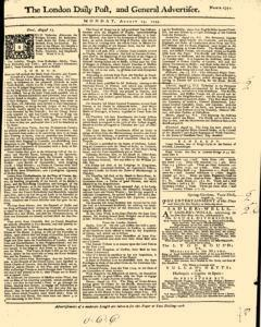 London Daily Post And General Advertiser, August 15, 1743, Page 1