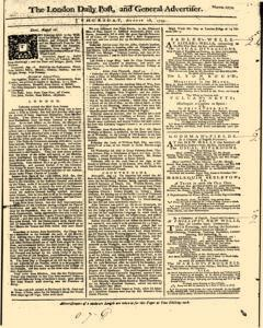 London Daily Post And General Advertiser, August 18, 1743, Page 1