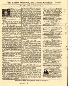 London Daily Post And General Advertiser, September 07, 1743, Page 1