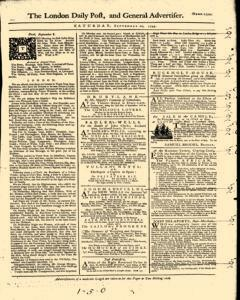 London Daily Post And General Advertiser, September 10, 1743, Page 1