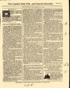 London Daily Post And General Advertiser, September 12, 1743, Page 1