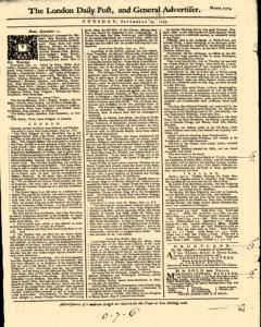 London Daily Post And General Advertiser, September 13, 1743, Page 1