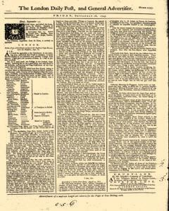 London Daily Post And General Advertiser, September 16, 1743, Page 1