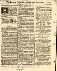 London Daily Post And General Advertiser, September 22, 1743, Page 1