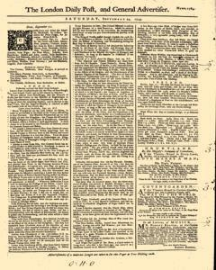 London Daily Post And General Advertiser, September 24, 1743, Page 1