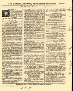London Daily Post And General Advertiser, October 12, 1743, Page 1