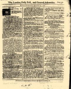 London Daily Post And General Advertiser, October 19, 1743, Page 1