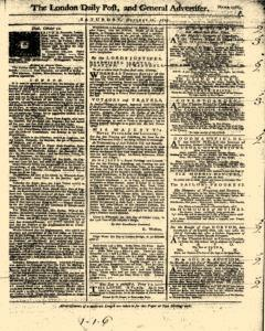 London Daily Post And General Advertiser, October 22, 1743, Page 1