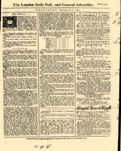 London Daily Post And General Advertiser, November 02, 1743, Page 1