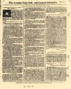 London Daily Post And General Advertiser, November 16, 1743, Page 1