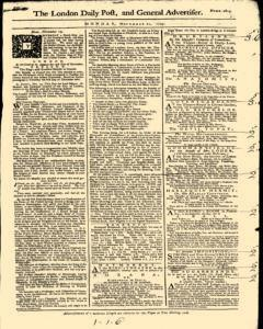 London Daily Post And General Advertiser, November 21, 1743, Page 1