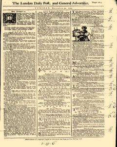 London Daily Post And General Advertiser, November 22, 1743, Page 1