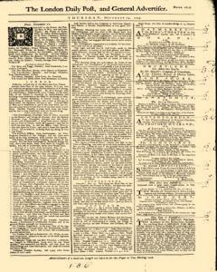 London Daily Post And General Advertiser, November 24, 1743, Page 1