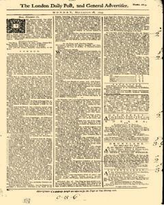 London Daily Post And General Advertiser, November 28, 1743, Page 1
