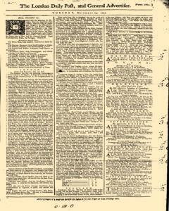 London Daily Post And General Advertiser, November 29, 1743, Page 1