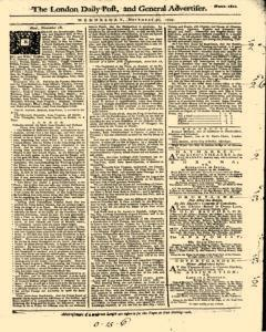 London Daily Post And General Advertiser, November 30, 1743, Page 1