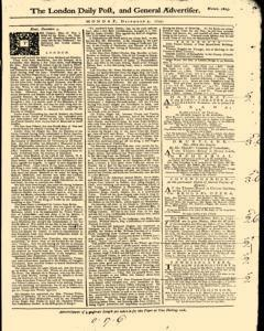 London Daily Post And General Advertiser, December 05, 1743, Page 1