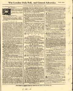 London Daily Post And General Advertiser, December 06, 1743, Page 1
