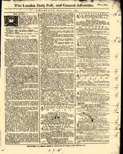 London Daily Post And General Advertiser, December 15, 1743, Page 1