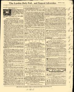 London Daily Post And General Advertiser, December 23, 1743, Page 1