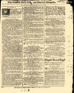 London Daily Post And General Advertiser, December 31, 1743, Page 1