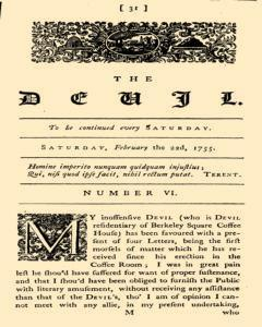 London Devil, February 22, 1755, Page 1