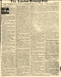 London Evening Post, February 19, 1765, Page 1