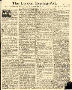 London Evening Post, February 28, 1765, Page 1