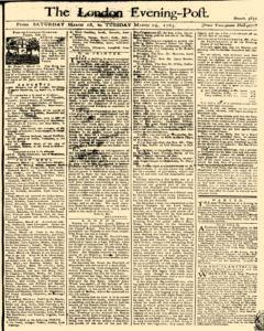 London Evening Post, March 16, 1765, Page 1
