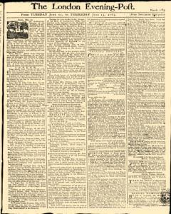 London Evening Post, June 11, 1765, Page 1
