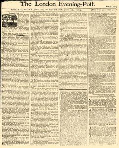 London Evening Post, June 20, 1765, Page 1