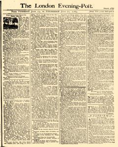 London Evening Post, June 25, 1765, Page 1