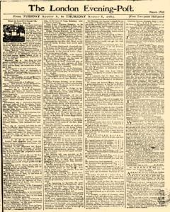 London Evening Post, August 06, 1765, Page 1