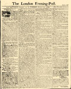 London Evening Post, August 17, 1765, Page 1