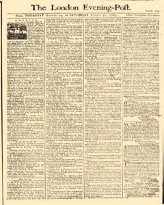 London Evening Post, August 29, 1765, Page 1