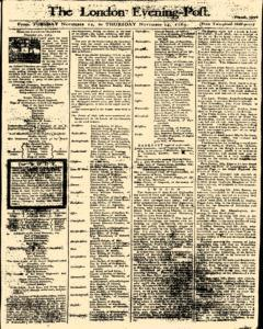London Evening Post, November 12, 1765, Page 1