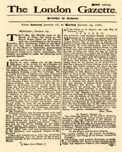 London Gazette, January 16, 1762, Page 1