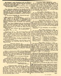 London Gazette, January 16, 1762, Page 3