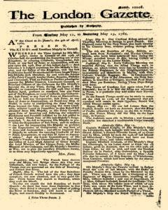 London Gazette, May 11, 1762, Page 1