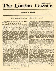London Gazette, May 29, 1762, Page 1