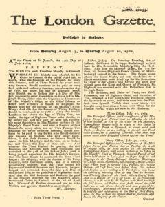 London Gazette, August 07, 1762, Page 1
